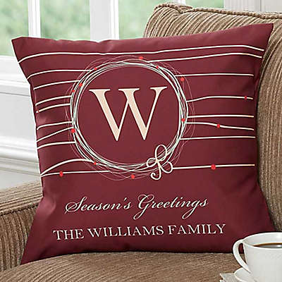 Holiday Wreath 18-Inch Personalized Square Throw Pillow