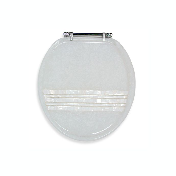 Alternate image 1 for Ginsey Mother of Pearl Banded Lid Standard Resin Toilet Seat