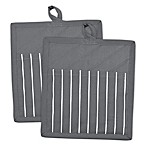 Grey Stripe Pocket Oven Mitts (Set of 2)