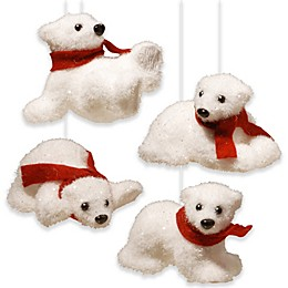 National Tree Company 4-Piece Decorative Polar Bear Assortment