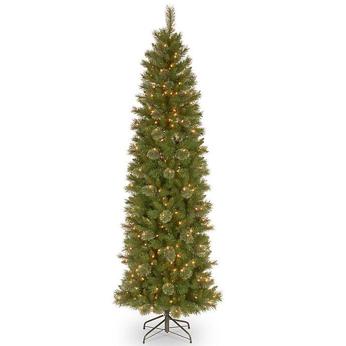 Slim Christmas Tree.National Tree Company Pre Lit Tacoma Pine Pencil Slim Artificial Christmas Tree