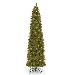 National Tree Company 12-Foot Pre-Lit Tacoma Pine Pencil Slim Artificial Christmas Tree