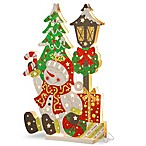 National Tree Company® 17-1/2-Inch Wooden Snowman Scene