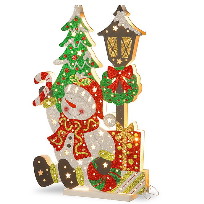 Alternate image 1 for National Tree Company® 17-1/2-Inch Wooden Snowman Scene