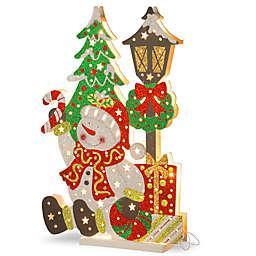 National Tree Company® 17-1/2-Inch Wooden Snowman Scene