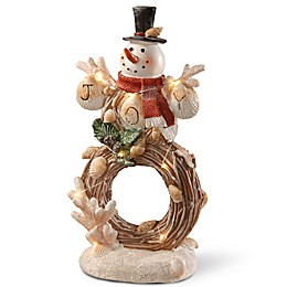 National Tree Company 11-Inch Lighted Holiday Snowman Decoration in Brown