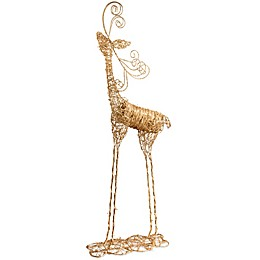 National Tree Company 51-Inch Rattan Reindeer in Gold