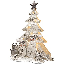 National Tree Company 16-Inch Lighted Tree Snowman Scene