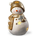 National Tree Company 8-Inch Lighted Holiday Snowman Decoration in White