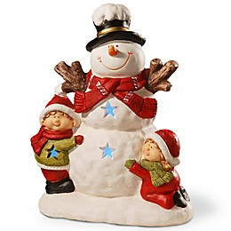 National Tree Company 17-Inch Lighted Holiday Snowman Decoration in Red