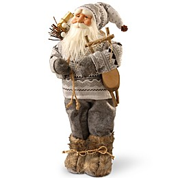 National Tree Company 17-Inch Standing Santa Christmas Figurine in Grey