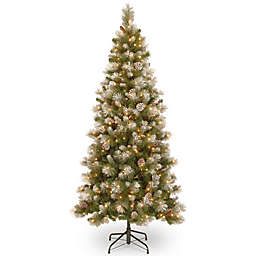 National Tree Company 7-1/2-Foot Pre-Lit Snow-Capped Mountain Slim Pine Artificial Christmas Tree