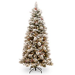 National Tree Company 7-1/2-Foot Pre-Lit Snowy Bedford Slim Pine Artificial Christmas Tree
