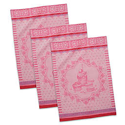 Macarons French Jacquard Dish Towels in Red/White (Set of 3)