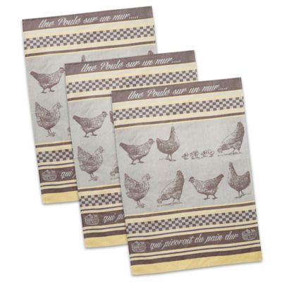design imports une poule french jacquard dish towels in