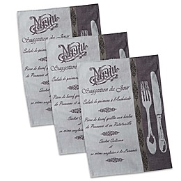 Design Imports French Menu Jacquard Dish Towels in Grey (Set of 3)