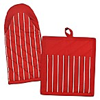 Design Imports Striped Pot Holder and Oven Mitt Set in Tango Red