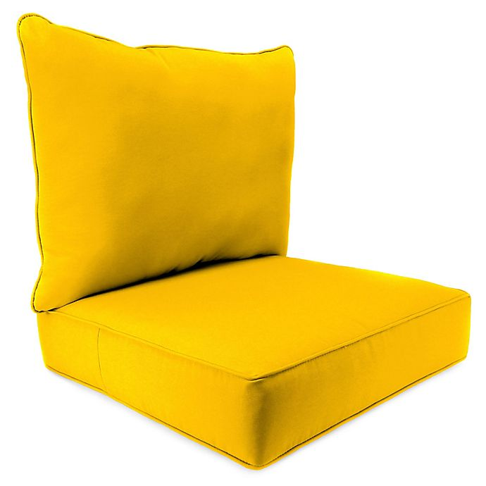 Alternate image 1 for Solid 2-Piece Pillow Back Chair Cushion in Sunbrella® Canvas Sunflower