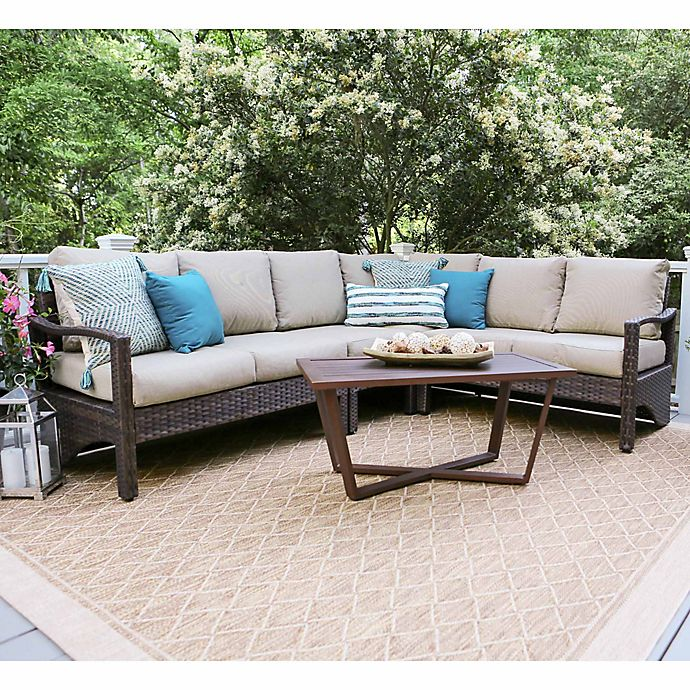 Alternate image 1 for Leisure Made Augusta 5-Piece Outdoor Wicker Sectional Set in Tan