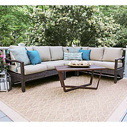 Leisure Made Augusta 5-Piece Outdoor Wicker Sectional Set in Tan