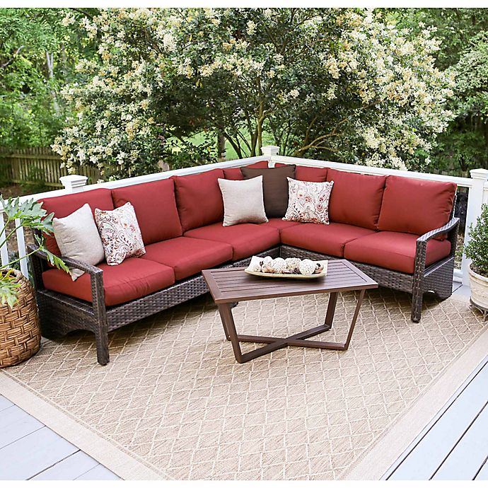 Alternate image 1 for Leisure Made Augusta 5-Piece Outdoor Wicker Sectional Set in Red