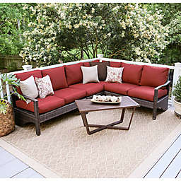 Leisure Made Augusta 5-Piece Outdoor Wicker Sectional Set in Red
