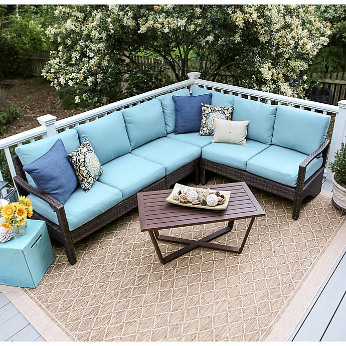 Alternate image 1 for Leisure Made Augusta 5-Piece Outdoor Wicker Sectional Set