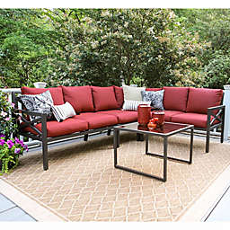 Leisure Made Blakely 5-Piece Sectional Patio Furniture Set in Red