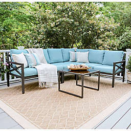 Leisure Made Blakely 5-Piece Sectional Patio Furniture Set in Blue