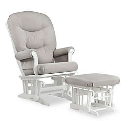 Dutailier® Sleigh Glider and Ottoman in White/Light Grey
