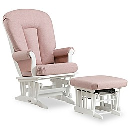 Dutailier® Sleigh Glider and Nursing Ottoman in White/Light Pink