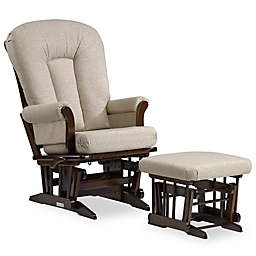 Dutailier® Multi-Position Reclining Sleigh Glider and Ottoman in Brown/Light Beige