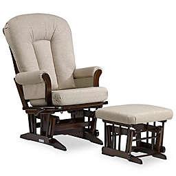 Dutailier® Multi-Position Reclining Sleigh Glider and Nursing Ottoman in Brown/Light Beige