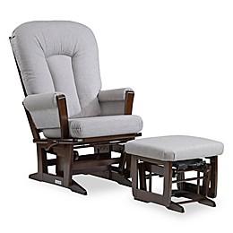 Dutailier® Multi-Position Reclining Sleigh Glider and Nursing Ottoman in Brown/Dark Grey