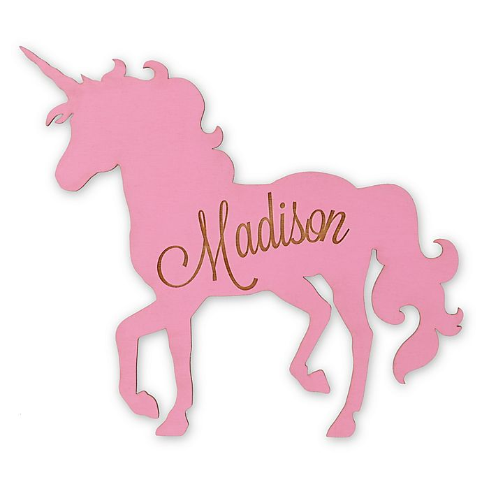 Alternate image 1 for Standing Unicorn Wood Wall Plaque in Pink