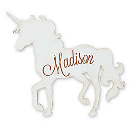 Standing Unicorn Wood Wall Plaque in White