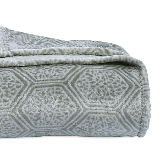 Alternate image 1 for Berkshire Blanket® VelvetLoft® Lattice Full/Queen Blanket in Green