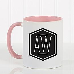 Classic Monogram 11 oz. Coffee Mug in Pink/White