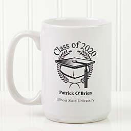 Graduation Cap 15 oz. Coffee Mug in White
