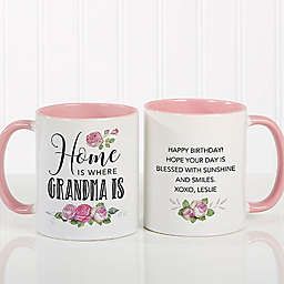 """Home Is Where Mom Is"" 11 oz. Coffee Mug in Pink"