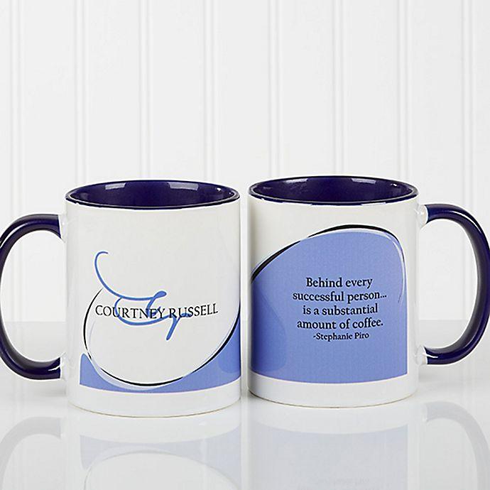 Alternate image 1 for My Monogram Quote 11 oz. Coffee Mug in Blue