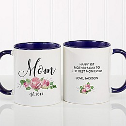 New Mom Floral 11 oz. Coffee Mug in Blue