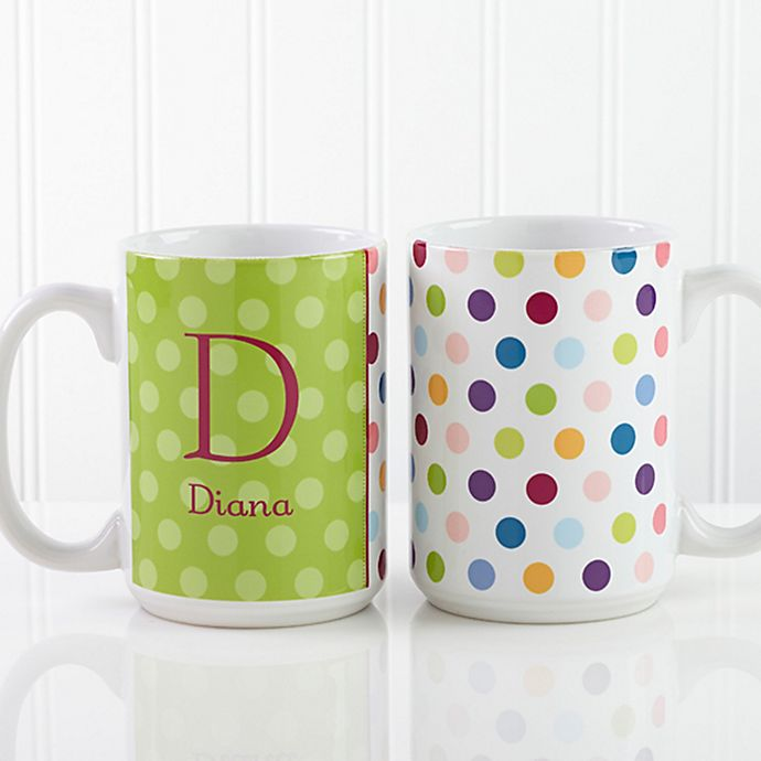 Alternate image 1 for Polka Dot 15 oz. Coffee Mug in White