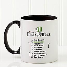 Top 10 Golfers 11 oz. Coffee Mug in Black/White