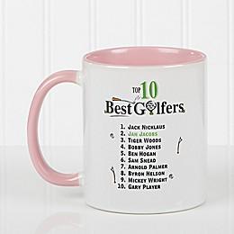 Top 10 Golfers 11 oz. Coffee Mug in Pink/White