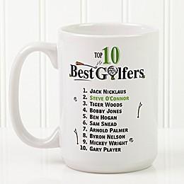 Top 10 Golfers 15 oz. Coffee Mug in White