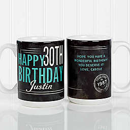 Vintage Birthday 15 oz. Coffee Mug in White/Black