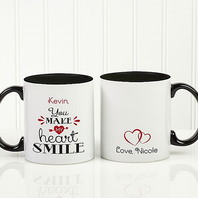 Alternate image 1 for You Make My Heart Smile 11 oz. Coffee Mug in Black/White