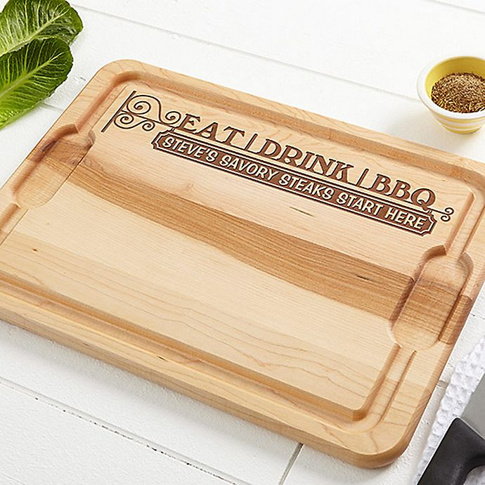 Alternate image 1 for Eat, Drink, & BBQ 12-Inch x 17-Inch Maple Cutting Board