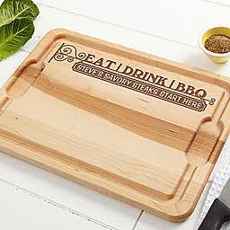 Eat, Drink, & BBQ 12-Inch x 17-Inch Maple Cutting Board